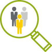 Magnifying glass icon showing defining organizational culture strategy