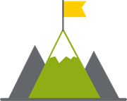 Mountain icon with a flag on top to reflect employee-corporate mission alignment