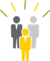 three people figures to symbolize enhancing company culture