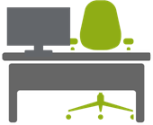 Desk icon to represent employee absenteeism